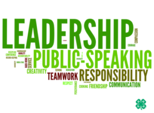4-H word cloud featuring the words, Leadership, Public Speaking, Responsibility and Teamwork