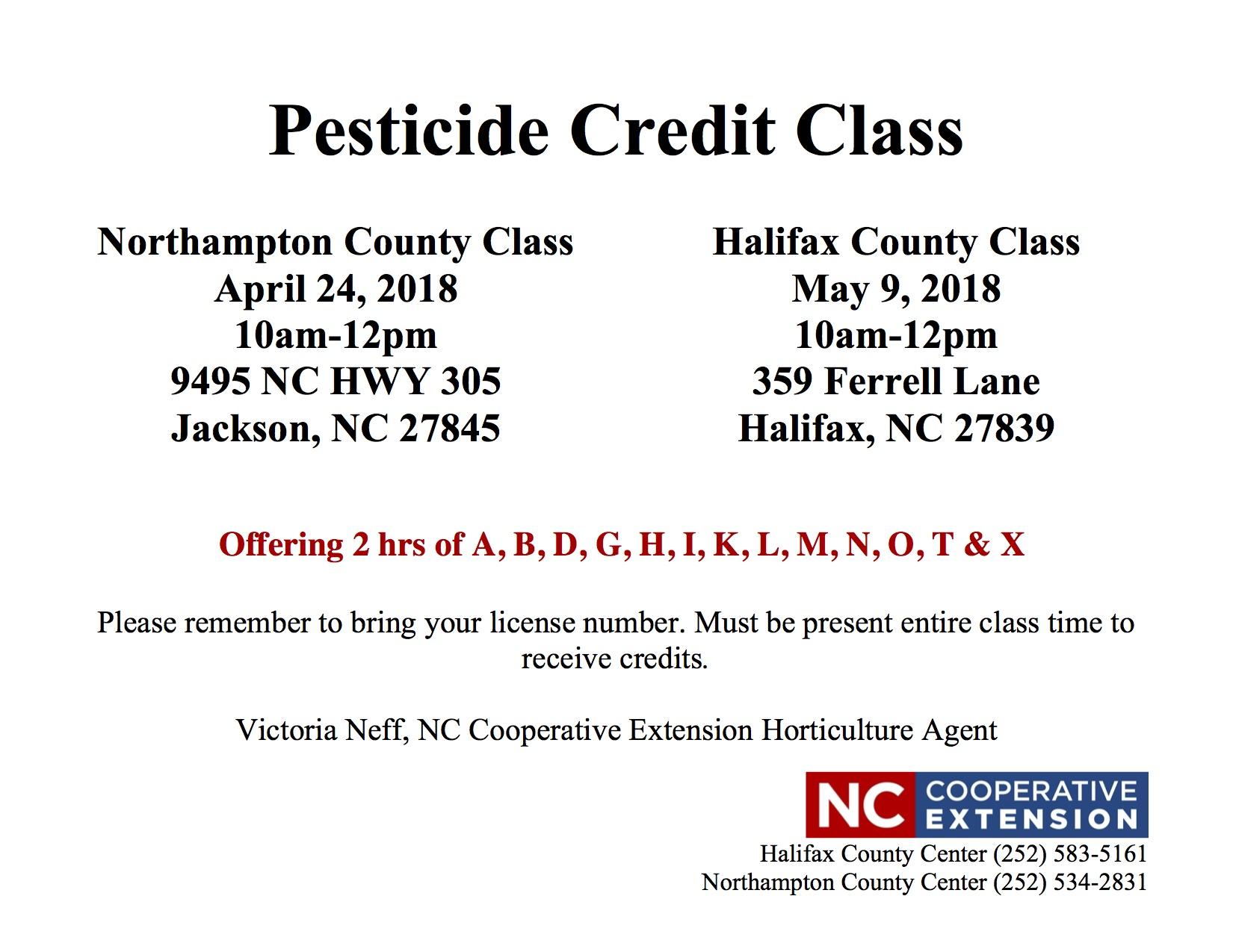 Pesticide Credit Class flyer image